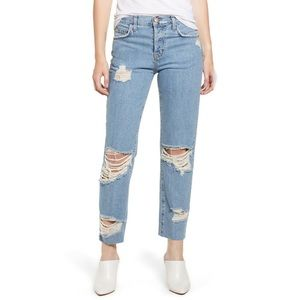 Current/Elliot Ripped Original Straight Leg Jeans